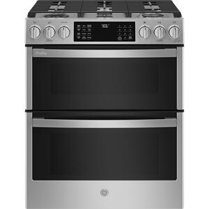"GEGE Profile(TM) 30"" Smart Slide-In Front-Control Gas Double Oven Convection Fingerprint Resistant Range"
