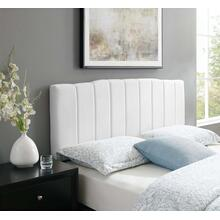 Camilla Channel Tufted Twin Performance Velvet Headboard in White