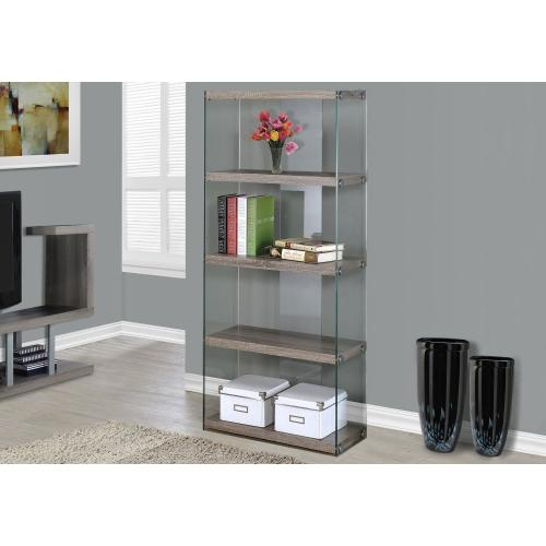 """Gallery - BOOKCASE - 60""""H / DARK TAUPE WITH TEMPERED GLASS"""