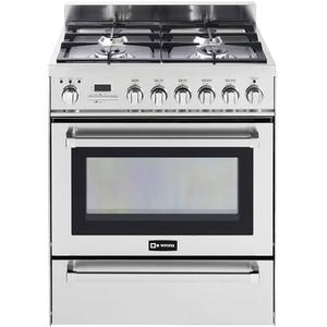 "VeronaStainless Steel 30"" Self-Cleaning Dual Fuel Range with Warming Drawer"