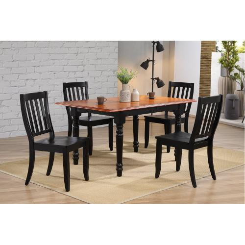 Butterfly Leaf Dining Set w/Napoleon Chairs - Antique Black with Cherry (5 Piece)