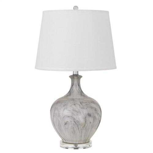 150W 3 Way Harlingen Ceramic Table Lamp With Taper Drum Linen Hardback Shade