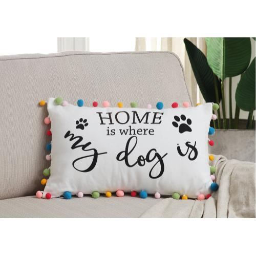 Dog Pom Pom Pillow - 12 x 20