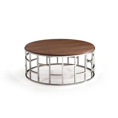 Modrest Silvia Modern Walnut & Stainless Steel Coffee Table