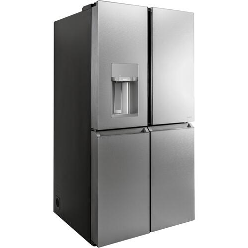 Café ENERGY STAR ® 27.4 Cu. Ft. Smart Quad-Door Refrigerator in Platinum Glass