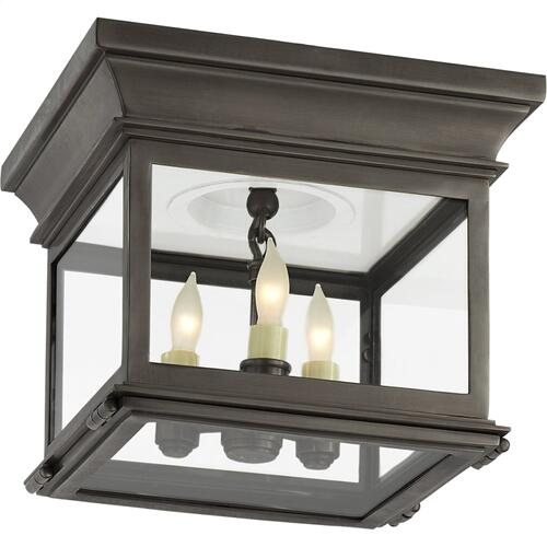 Visual Comfort CHC4128BZ-CG E. F. Chapman Club 3 Light 9 inch Bronze Flush Mount Ceiling Light in Clear Glass