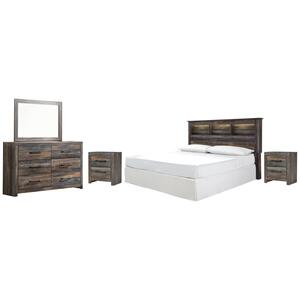 Ashley - King/california King Bookcase Headboard With Mirrored Dresser and 2 Nightstands
