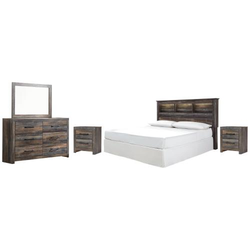 King/california King Bookcase Headboard With Mirrored Dresser and 2 Nightstands