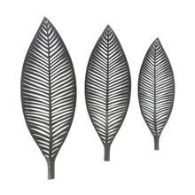 S/3 Black Metal Leaf Trays