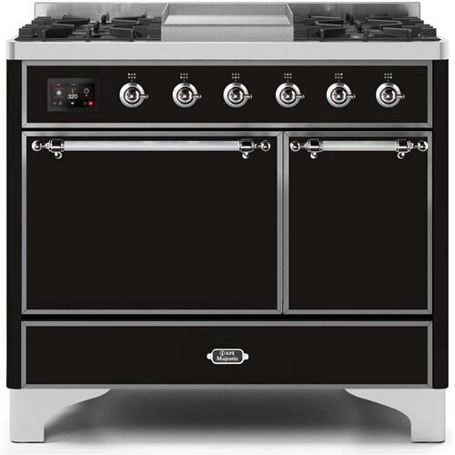 Majestic II 40 Inch Dual Fuel Liquid Propane Freestanding Range in Glossy Black with Chrome Trim
