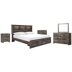 King Bookcase Bed With 2 Storage Drawers With Mirrored Dresser and 2 Nightstands