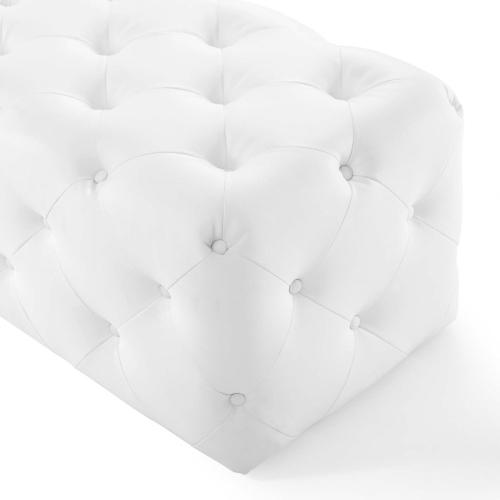 """Amour 72"""" Tufted Button Entryway Faux Leather Bench in White"""