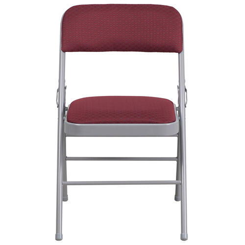 HERCULES Series Triple Braced Burgundy Patterned Fabric Upholstered Metal Folding Chair
