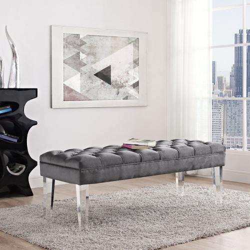 Modway - Valet Performance Velvet Bench in Gray