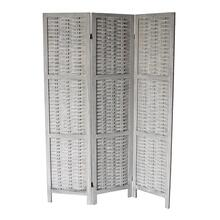 7039 GRAY Rustic Woven 3-Panel Room Divider