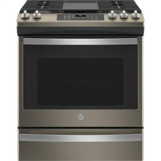 """GE 30"""" Slide-In Convection Gas Range with No Preheat Air Fry Slate - JCGS760EPES"""