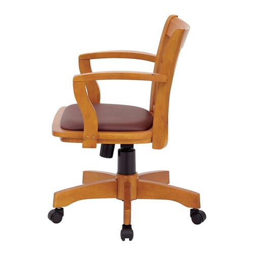 Deluxe Wood Banker's Chair With Vinyl Padded Seat In Fruit Wood Finish With Brown Vinyl