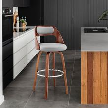 """View Product - Julius 30"""" Grey Faux Leather and Walnut Wood Bar Stool"""