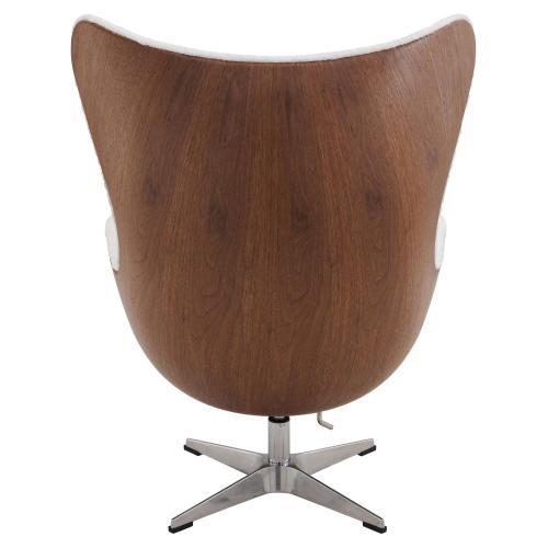 Axis Faux Fur Swivel Rocker Chair Dark Walnut Frame, Twizel Faux Fur