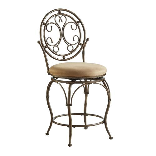 Upholstered Tan Seat and Scroll Circle Back Counter Stool, Bronze and Tan