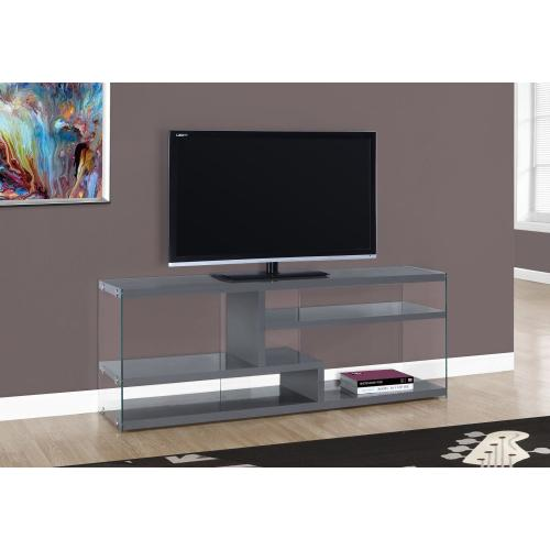 """TV STAND - 60""""L / GLOSSY GREY WITH TEMPERED GLASS"""