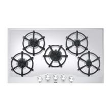 """See Details - Stainless Steel/White Glass 36"""" Gas Cooktop - DGCU (36"""" wide, five burners)"""