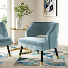 Traipse Button Tufted Open Back Performance Velvet Armchair in Light Blue