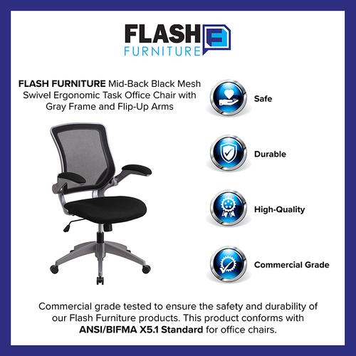 Gallery - Mid-Back Black Mesh Swivel Ergonomic Task Office Chair with Gray Frame and Flip-Up Arms