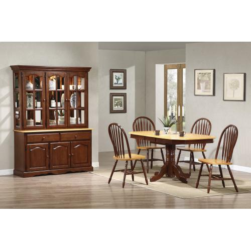 Pedestal Extendable Dining Set w/China Cabinet (6 Piece)