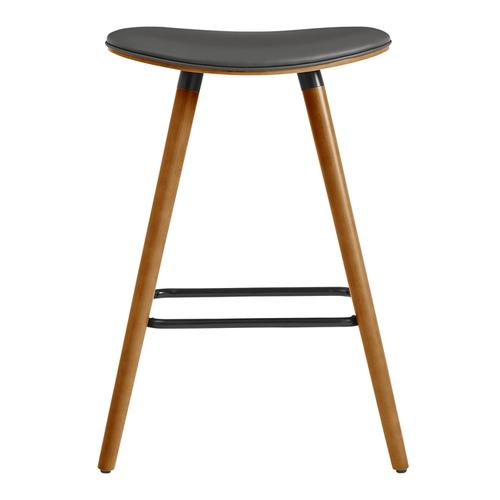 """Armen Living - Piper 26"""" Counter Height Backless Bar Stool in Grey Faux Leather and Walnut Wood"""