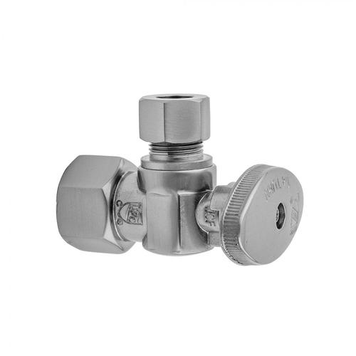 """Jaclo - Satin Brass - Quarter Turn Angle Pattern 3/8"""" IPS x 3/8"""" O.D. Supply Valve with Oval Handle"""