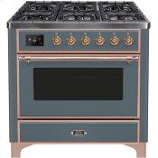 Majestic II 36 Inch Dual Fuel Natural Gas Freestanding Range in Blue Grey with Copper Trim