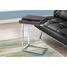 ACCENT TABLE - CHROME METAL / GREY WITH A DRAWER