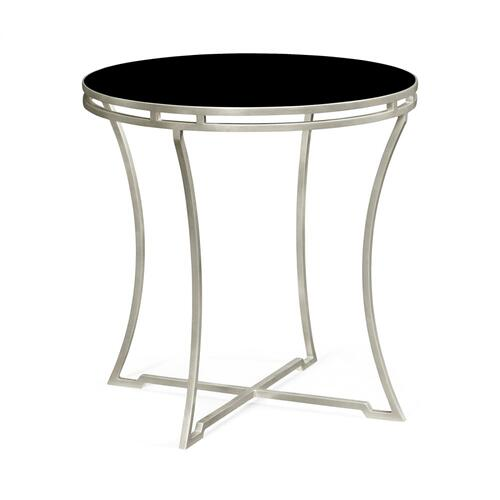 Silver Iron Round Side Table with A Black Glass Top