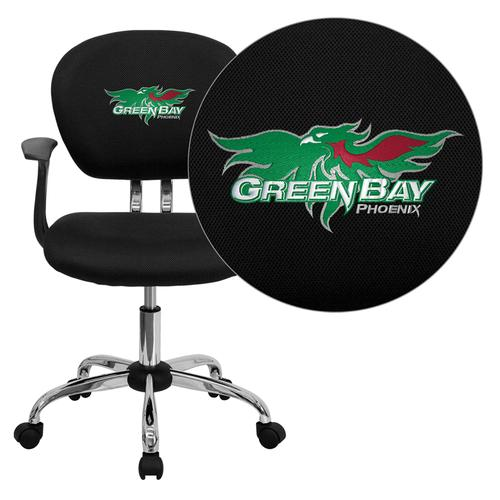 Wisconsin - Green Bay Phoenix Embroidered Black Mesh Task Chair with Arms and Chrome Base