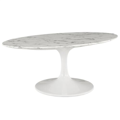 "Lippa 42"" Oval-Shaped Artificial Marble Coffee Table in White"