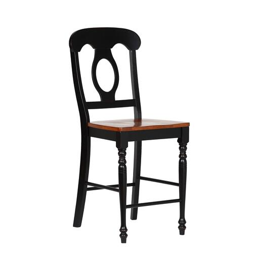 Napoleon Barstool - Antique Black with Cherry Finish Seats (Set of 2)