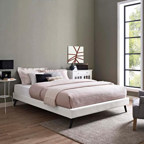 Modway - Loryn King Vinyl Bed Frame with Round Splayed Legs in White
