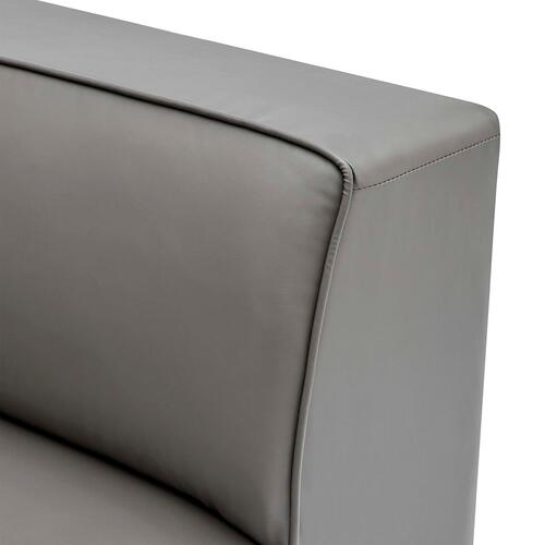 Mingle Vegan Leather Corner Chair in Gray