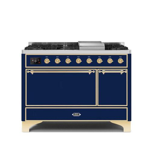Product Image - Majestic II 48 Inch Dual Fuel Natural Gas Freestanding Range in Blue with Brass Trim