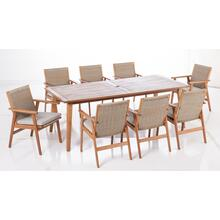 "Kate 87"" Rectangular Karri Gum FSC KD Dining Table w/ umbrella hole"