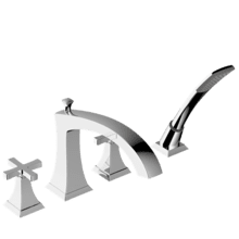Leyden Deck-Mount Bathtub Faucet with Handshower Trim with Cross Handles - Polished Chrome