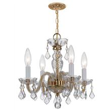 Traditional Crystal 4 Light Cl ear Spectra Crystal Brass Mini Chandelier