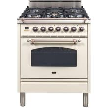 Nostalgie 30 Inch Gas Natural Gas Freestanding Range in Antique White with Bronze Trim