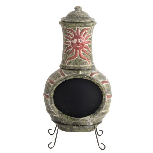 Earthenware 2 Piece Large Sunface Chiminea w/ lid and stand