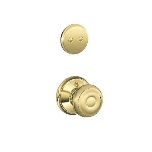 Schlage - Century In-active Handleset and Georgian Knob - Bright Brass