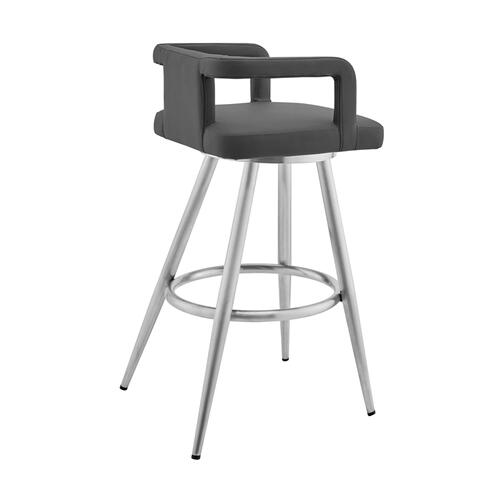 "Gabriele 26"" Gray Faux Leather and Brushed Stainless Steel Swivel Bar Stool"