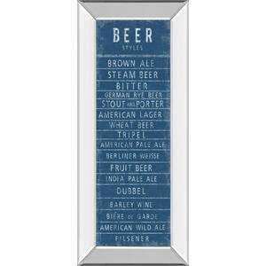 """Classy Art - """"Beer Styles"""" By The Vintage Collection Mirror Framed Print Wall Art"""