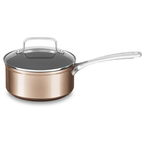 2 Quart Hard Anodized Non-Stick Saucepan with lid - Toffee Delight