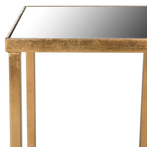 Halyn Gold Leaf Mirror Top End Table - Antique Gold